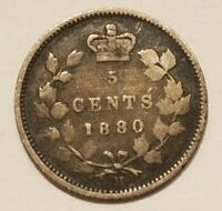 1880 H CANADA 5 CENTS SILVER COIN CANADIAN 1/20 DOLLAR FISHSCALE NICKEL