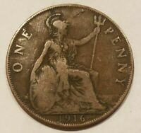 1916 UNITED KINGDOM 1 PENNY GREAT BRITAIN ONE PENCE ENGLISH BRITISIH COIN UK
