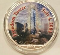 2004 AMERICAN SILVER EAGLE $1 FREEDOM TOWER 9/11 GROUND ZERO COIN COLORIZED 1 OZ