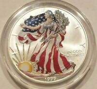 1999 AMERICAN SILVER EAGLE $1 COIN COLORIZED ONE OUNCE 1 OZ. ONE DOLLAR NICE