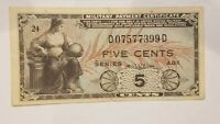 SERIES 481 5 CENTS MILITARY PAYMENT CERTIFICATE MPC US MILITARY NICE