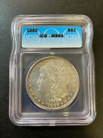 1882 P MORGAN DOLLAR ICG MINT STATE 64 - UNCIRCULATED - BETTER DATE - CERTIFIED SLAB -$1