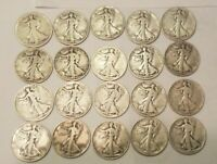ROLL OF 20 WALKING LIBERTY SILVER HALF DOLLARS 50 CENT COINS $10 FACE 1918 1943