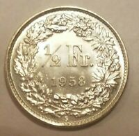 1958 SWITZERLAND 1/2 FRANC SILVER SWISS COIN 50 RAPPEN UNCIRCULATED UNC MS