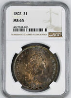 1802 DRAPED BUST $1 NGC MINT STATE 65