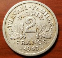 1943 VICHY FRANCE 2 FRANC NAZI GERMANY OCCUPATION WORLD WAR TWO WWII RELIC COIN