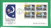 C76 MOON LANDING FDC WITH PLATE BLOCK FOUR 10  STAMPS 1969 D