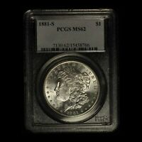 1881-S $1 MORGAN SILVER DOLLAR PCGS MINT STATE 62 - SHIPS FREE USA