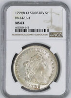 1799 DRAPED BUST $1 NGC MINT STATE 63