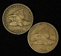 1857 & 1858 1C FLYING EAGLE SMALL CENT PAIR - SHIPS FREE USA
