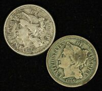 PAIR OF 1865 & 1866 3CN THREE CENT NICKELS - SHIPS FREE USA