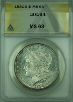 1881-S MORGAN SILVER DOLLAR $1 COIN ANACS MINT STATE 63 30 A