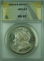 1881-S MORGAN SILVER DOLLAR $1 COIN ANACS MINT STATE 64 SPL SEMI PROOF LIKE TONED 30 A