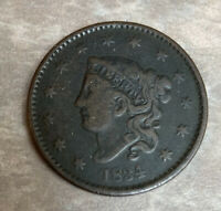 1834 US CLASSIC HEAD LARGE ONE CENT 1C COPPER COIN VF