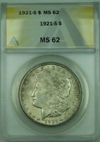 1921-S MORGAN SILVER DOLLAR $1 COIN ANACS MINT STATE 62 30