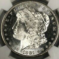 1881-S NGC MINT STATE 65 MORGAN SILVER DOLLAR $1  FROSTY CAMEO EXCEPTIONAL SILVER GEM