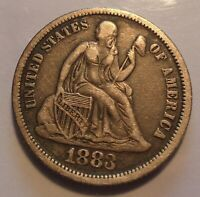 ORIGINAL TONED  FINE VF 1883 SEATED LIBERTY SILVER 10C UNCERTIFIED DIME