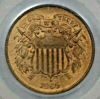 1865 2C PCGS MINT STATE 65 RD OGH