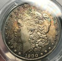 1900-S MORGAN $1 PCGS MINT STATE 65 CAC APPROVED PURPLE TONE