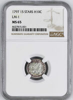 1797 DRAPED BUST H10C NGC MINT STATE 65
