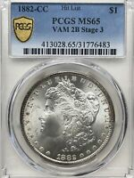 1882-CC PCGS MINT STATE 65 MORGAN SILVER DOLLAR RIM TONING ON OBVERSE AND REVERSE