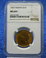 1907 $10 INDIAN HEAD MOTTO PRE 33 GOLD EAGLE NGC MS 64  PLUS