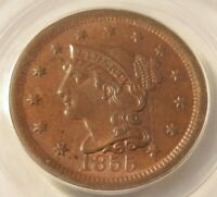 1855 N 4 UPRIGHT 55 BRAIDED HAIR LARGE CENT PCGS GRADED AU58 BEAUTIFUL COIN