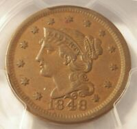 1848 N 12 R1 BRAIDED HAIR LARGE CENT PCGS GRADED AU50 GREAT COLOR