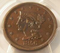 1856 SLANTED 5 BRAIDED HAIR LARGE CENT PCGS GRADED MS62 BEAUTIFUL COIN