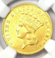 1855 THREE DOLLAR INDIAN GOLD COIN $3   CERTIFIED NGC AU DETAILS    COIN