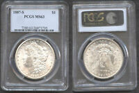 1887-S $1 MINT STATE 63 PCGS-WHITE-MINT LUSTER
