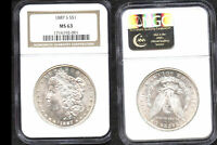 1887-S $1 MINT STATE 63 NGC-WHITE-MINT LUSTER