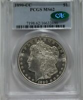 1890-CC $1 MORGAN PCGS MINT STATE 62 CAC APPROVED  WHITE