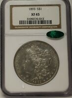 1893 $1 MORGAN PCGS EXTRA FINE  45 CAC APPROVED GRAYISH WHITE