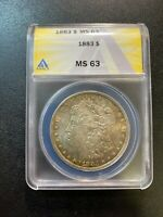 1883 P MORGAN DOLLAR ANACS MINT STATE 63 - UNCIRCULATED - GOOD DATE - CERTIFIED SLAB -$1