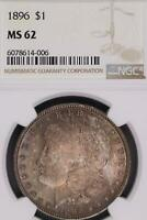 1896 MORGAN SILVER DOLLAR NGC MINT STATE 62 TONED - DOUBLEJCOINS - 7004-86