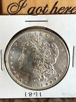 1891 MORGAN SILVER DOLLAR: ALMOST UNCIRCULATED - SHARP DETAILS AND  LUSTER