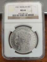 1921 SILVER MORGAN DOLLAR  NGC GRADED MINT STATE 64 GREAT LUSTER