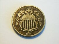 1868 F SHIELD NICKEL,  LOW PRICED BETTER GRADE VINTAGE COIN TO COLLECT
