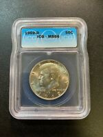 1969 D KENNEDY HALF DOLLAR ICG MINT STATE 66 - UNCIRCULATED - 40 - CERTIFIED SLAB - 50C