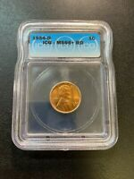 1954 D WHEAT CENT ICG MINT STATE 66 RD - UNCIRCULATED - RED PENNY - CERTIFIED SLAB - 1C