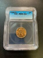 1958 D WHEAT CENT ICG MINT STATE 66 RD - UNCIRCULATED - RED PENNY - CERTIFIED SLAB - 1C