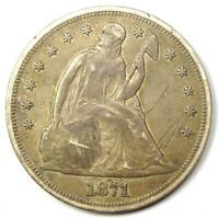 1871 SEATED LIBERTY SILVER DOLLAR $1 - CHOICE EXTRA FINE  DETAILS -  EARLY COIN