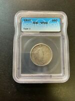 1917 TYPE ONE STANDING LIBERTY QUARTER ICG VF-20 - TYPE 1 - CERTIFIED SLAB - 25C