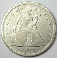 1842 SEATED LIBERTY SILVER DOLLAR $1 - EXTRA FINE  DETAILS EF -  EARLY COIN