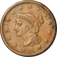 1840 1C LARGE DATE BRAIDED HAIR LARGE CENT FINE  K13410