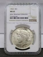 1923 SILVER PEACE DOLLAR NGC MINT STATE 63 JOHN NEWMAN COLLECTION HOARD PEDIGREE COIN