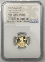 2021 W TY 2 PROOF 1/10 OZ GOLD AMERICAN EAGLE $5 COIN NGC PF 70 UC EARLY RELEASE
