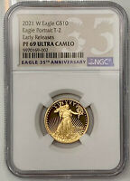 2021 W TY 2 GOLD PROOF 1/4 OZ AMERICAN EAGLE $10 COIN NGC PF 69 UC EARLY RELEASE