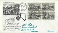 3 '59 FDCS 100TH ANNIVERSARY OF THE SILVER DISCOVERY COMSTOC